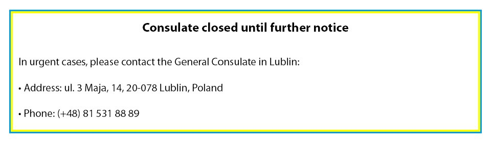 Consulate closed until further notice